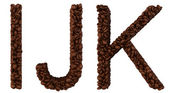Coffee font I, J and K letters isolated — Stock Photo