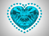 Large blue heart cut diamond — Stock Photo