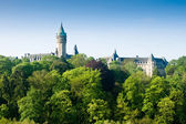 Luxembourg castle and green trees — Stock Photo