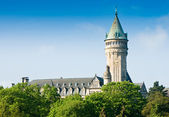 Luxembourg sight - castle tower with clock — Stock Photo