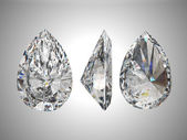 Three views of pear diamond — Stock Photo