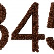 Coffee font 3 4 5 numerals isolated — Stock Photo