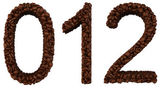 Coffee font 0 1 2 numerals isolated — Stock Photo