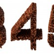 Roasted Coffee font 3 4 5 numerals — Stock Photo