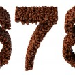 Roasted Coffee font 6 7 8 numerals — Stock Photo