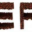 Roasted Coffee font E and F letters - Stock Photo