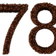 Coffee font 6 7 8 9 numerals - Stock Photo