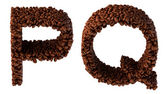 Roasted Coffee font P and Q letters — Stock Photo