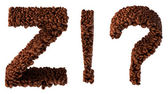 Roasted Coffee font Z and wow, What symbols — Stock Photo