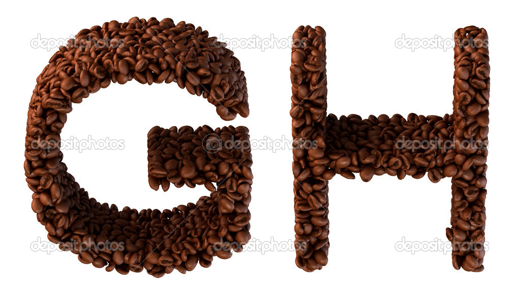 Roasted Coffee font G and H letters isolated over white — Stock Photo #4264977
