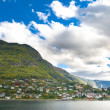 Mountains, village and Norwegian fiord — 图库照片
