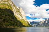 Norwegian fjords and blue sky — Stock Photo