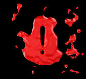 Red blob exclamation mark over black — Stock Photo