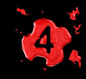 Red blob four figure over black background — Stock Photo