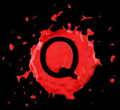 Red blob Q letter over black background — Stock Photo
