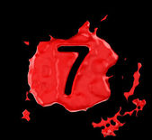 Red blob seven figure over black background — Stock Photo