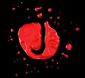 Red blot J letter over black background — Stock Photo