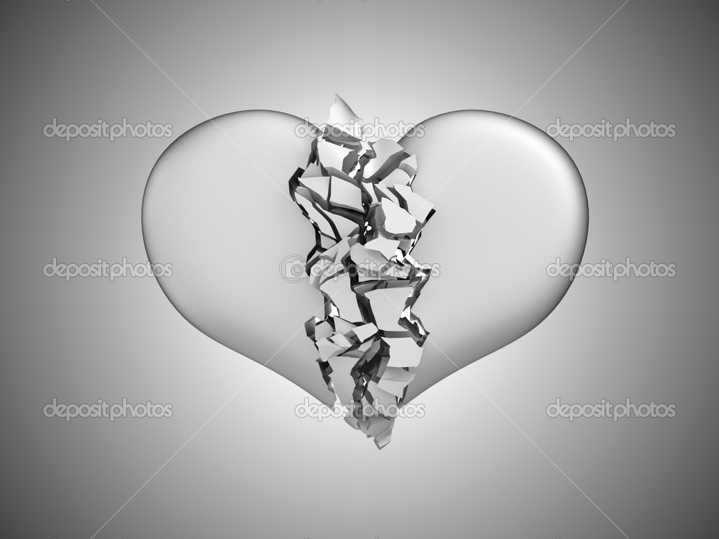 Divorce and death. Broken Heart over grey background — Stock Photo #4293715