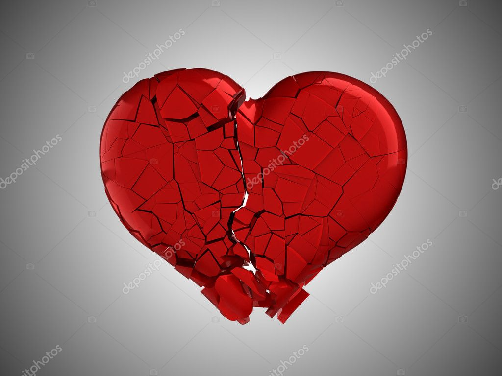 Hurt and pain. Red Broken Heart over grey background  Stock Photo #4293891
