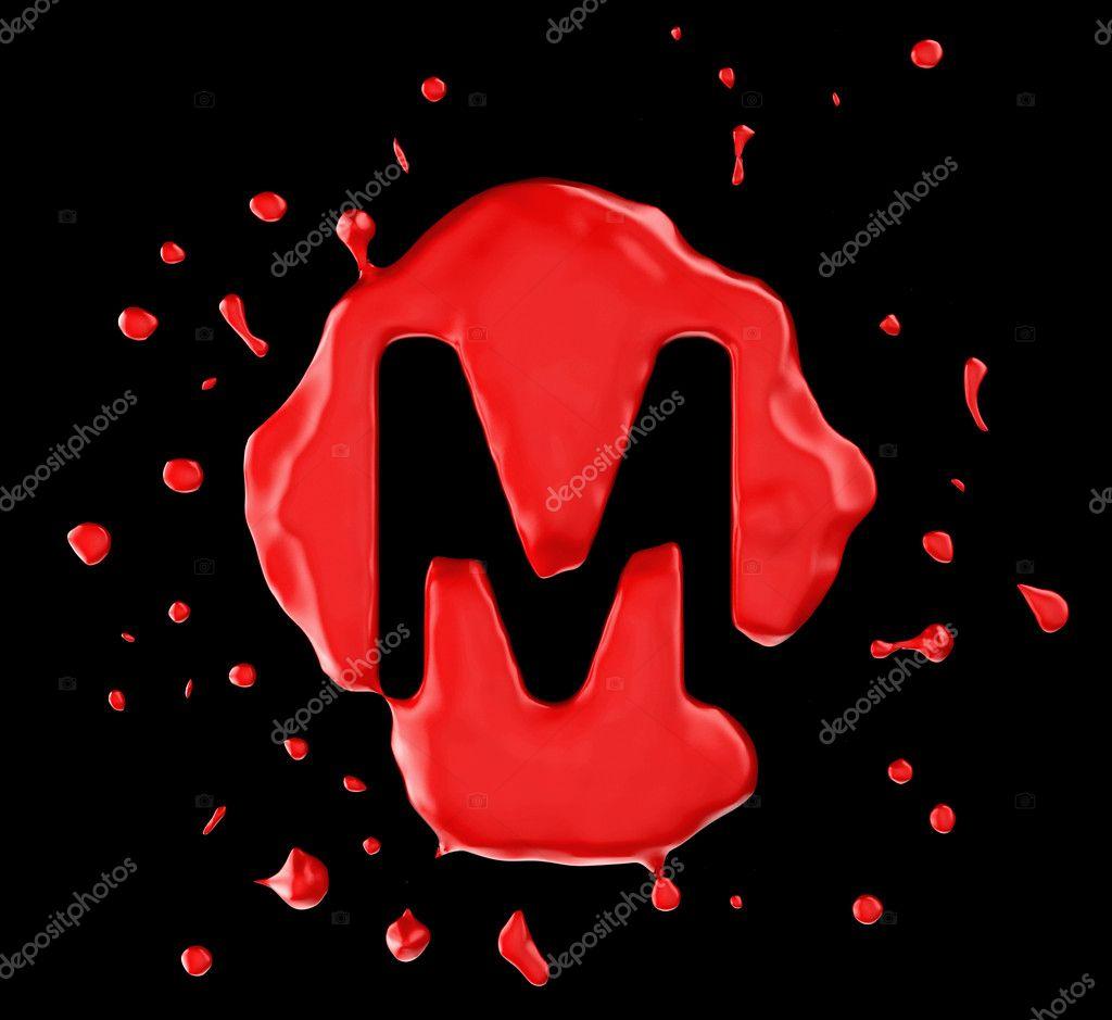 lettre m de tache rouge sur fond noir photographie arsgera 4294528. Black Bedroom Furniture Sets. Home Design Ideas