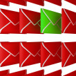 Check your Email - unread letter among red envelopes — 图库照片