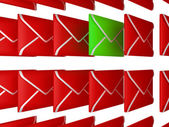 Check your Email - unread letter among red envelopes — Zdjęcie stockowe