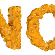 Stock Photo: Honey font N and O letters isolated