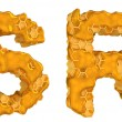 Photo: Honey font R and S letters isolated