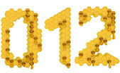 Honey font 0 1 and 2 numerals isolated — Stock Photo