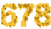 Honey font 6 7 and 8 numerals isolated — Stock Photo