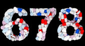Pills font 6 7 and 8 numerals isolated — Stock Photo