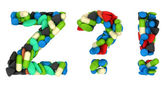 Pills font Z exlamation and query marks — Stock Photo