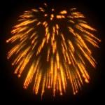 Orange festive fireworks at night — Stock Photo