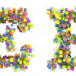 Abstract cubes font E and F letters isolated — Stock Photo