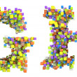 Abstract cubes font G and H letters isolated - Foto Stock