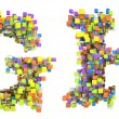 Abstract cubes font G and H letters isolated - Foto de Stock