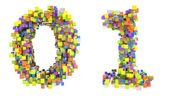 Abstract cubic font 0 and 1 figures — Stock Photo