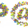 Abstract cubes font at and query symbols — Stock Photo