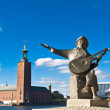 Evert Taubes monument and Stockholm city hall — Stock Photo #4509931