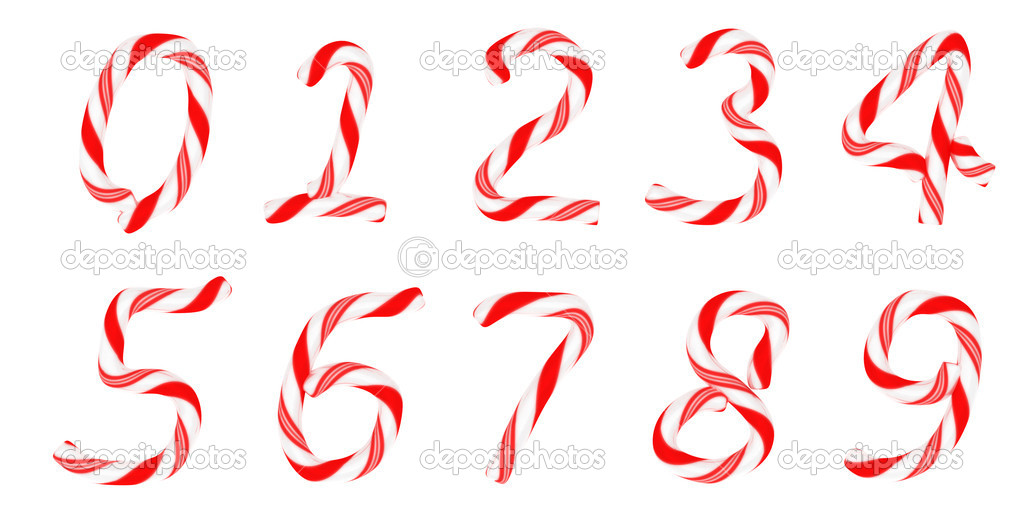Candy cane font 0-9 numerals isolated on white — Stock Photo #4519991