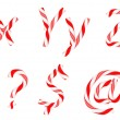Candy cane font X-Z letters and symbols - Stock Photo