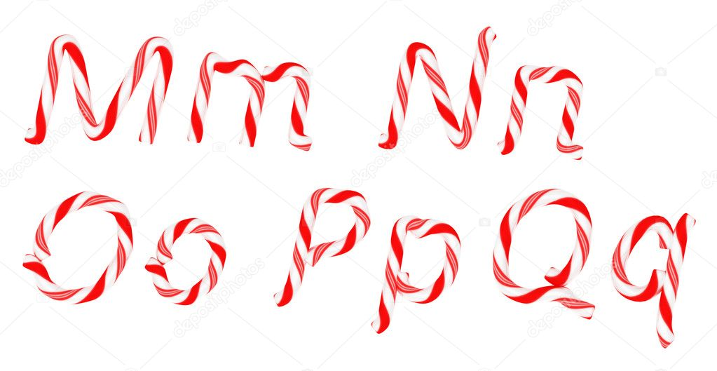 Candy cane font M - Q letters isolated on white  Stock Photo #4520017
