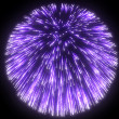 Stock Photo: Festive purple fireworks at night