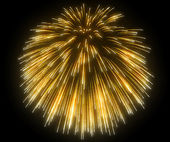 Yellow festive fireworks at night — Foto de Stock