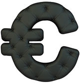 Luxury black leather font Euro symbol — Stock Photo