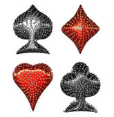 Card suits incrusted with diamonds — Stock Photo
