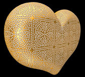 Golden heart inlaid with diamonds — Stock Photo