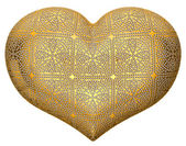 Golden heart shape inlaid with diamonds — Stock Photo