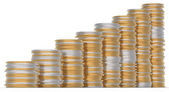 Growth: golden and silver coins stacks — Stock Photo
