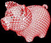 Skarbonka inkrustowany diamentami czerwony — Zdjęcie stockowe